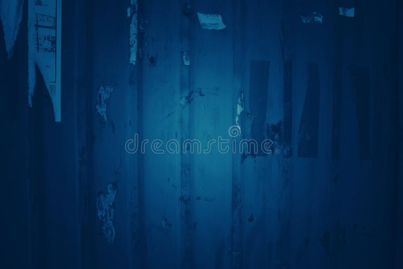 Dark blue tone background with old zinc patterns. For backgrounds and wallpapers royalty free stock photo