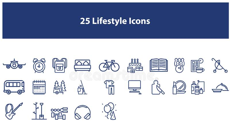 Dark Blue Vector lifestyle icons set. Vector lifestyle icons  set in the dark blue color for apps and websites royalty free illustration