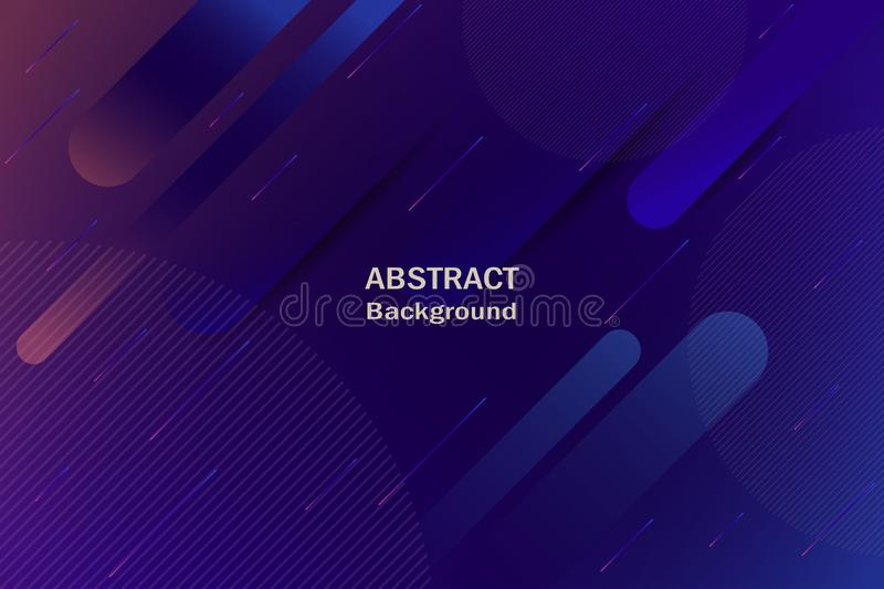 Dark blue and violet colors background with abstract figures and lines with gradient. Vector royalty free illustration