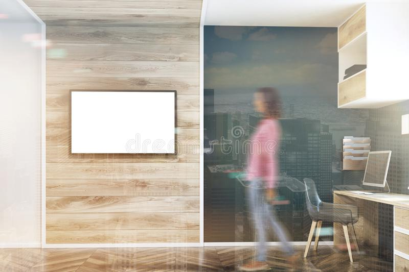 Dark blue wall home office, TV screen double royalty free stock photography