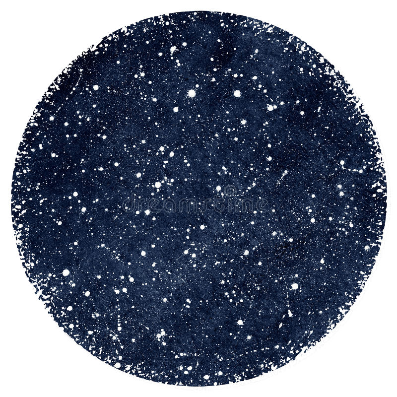 Dark blue watercolor night sky with stars. Dark blue hand drawn watercolor night sky with stars. Splash texture. Circle form with rough, artistic edges royalty free illustration