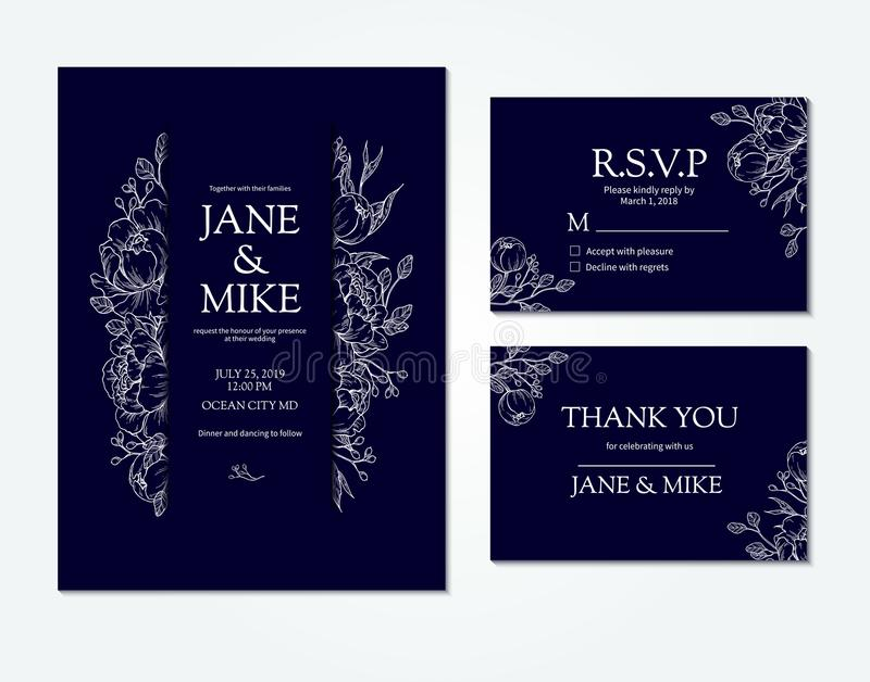Dark blue wedding invitation card template with vector peony and roses. Botanical drawing. Isolated sketch. Engraved bouquet with leaves and berries. Save the vector illustration