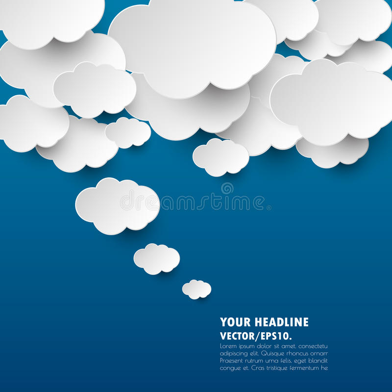 Free Dark Blue With Cloud Idea Banner. Vector .illustration. Royalty Free Stock Photo - 68426245