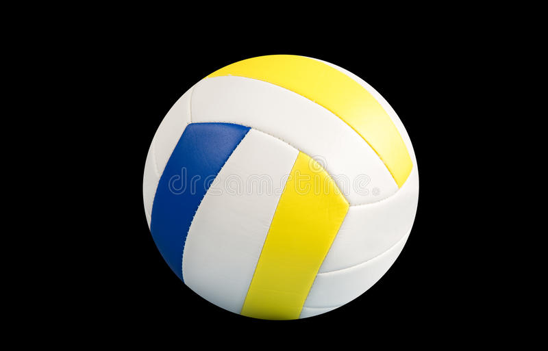 Dark blue, yellow Volley-ball ball on a black background royalty free stock image