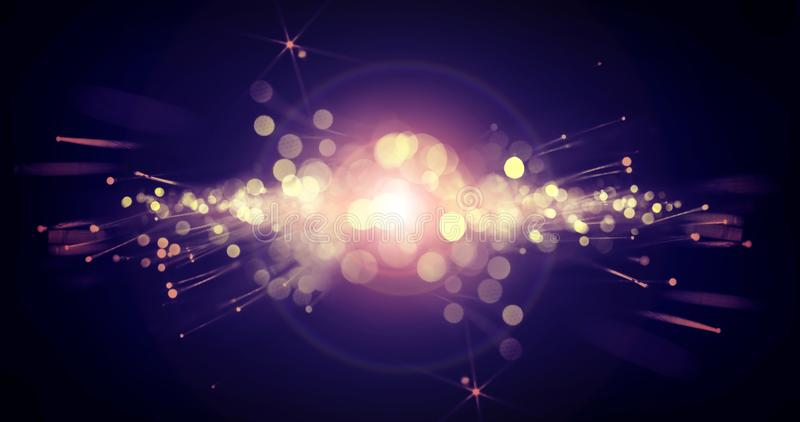 Dark bokeh background with a bright flash of light, light effect stock illustration