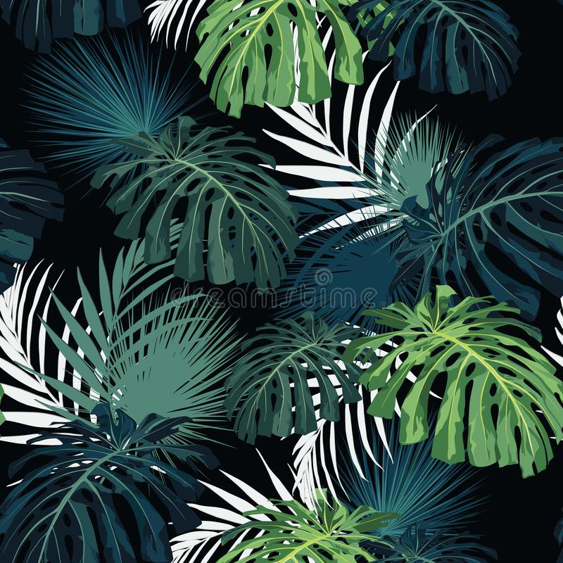 Dark and bright tropical leaves with jungle plants. Seamless vector tropical pattern with green palm and monstera. Leaves. Black background vector illustration