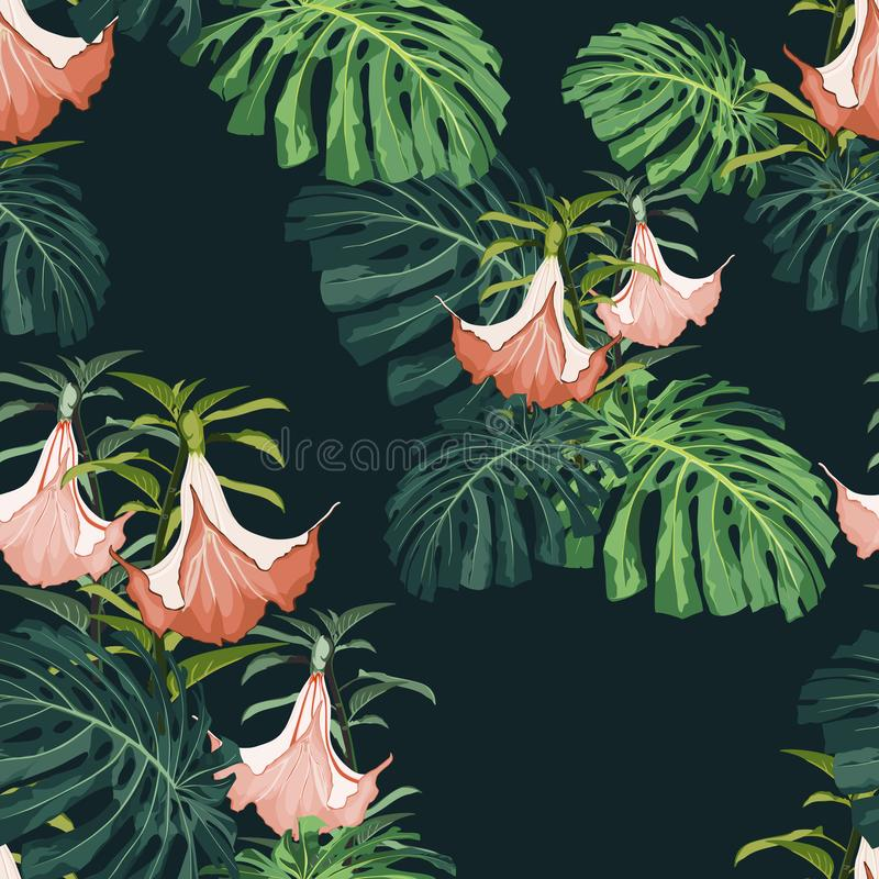 Dark and bright tropical leaves with jungle plants. Seamless vector tropical pattern with green palm and monstera leaves. royalty free illustration