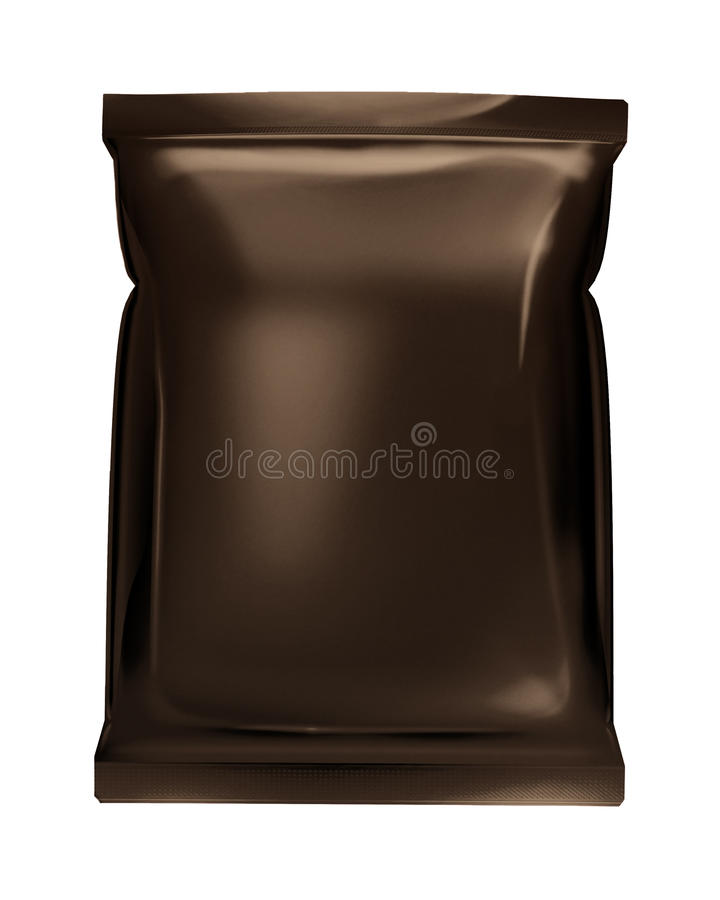 Download Dark Brown Bag Foil Bag Isolated On White Backgrou Stock Photo - Image: 22313072