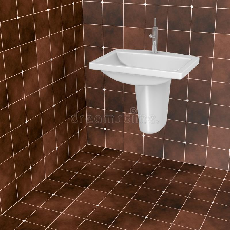 Dark brown bathroom tiles. 3d render of dark brown bathroom tiles royalty free illustration
