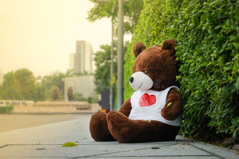 Dark brown bear doll sitting on the footpath sidewalk beside the road in lonely mood stock photo