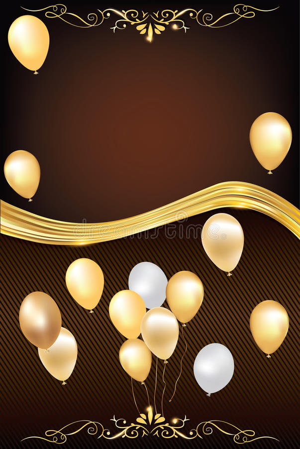 dark brown celebration background with balloons stock