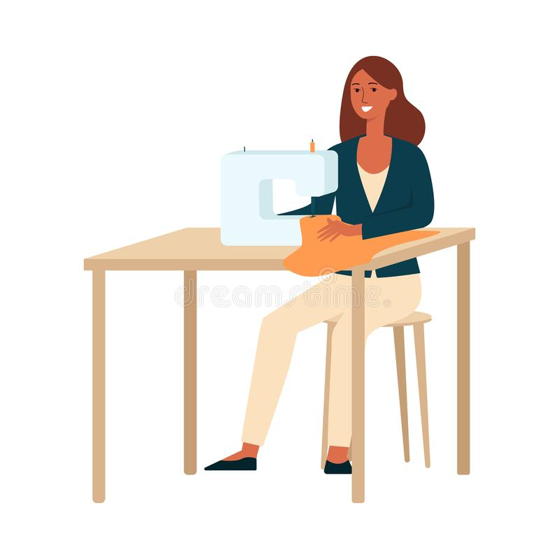 A dark brown haired woman sews, a dressmaker, seamstress, a clothes designer at work. vector illustration