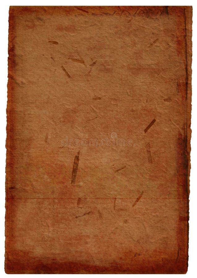 Dark Brown hand-made paper background. Burnt brown hand-made paper background with straw