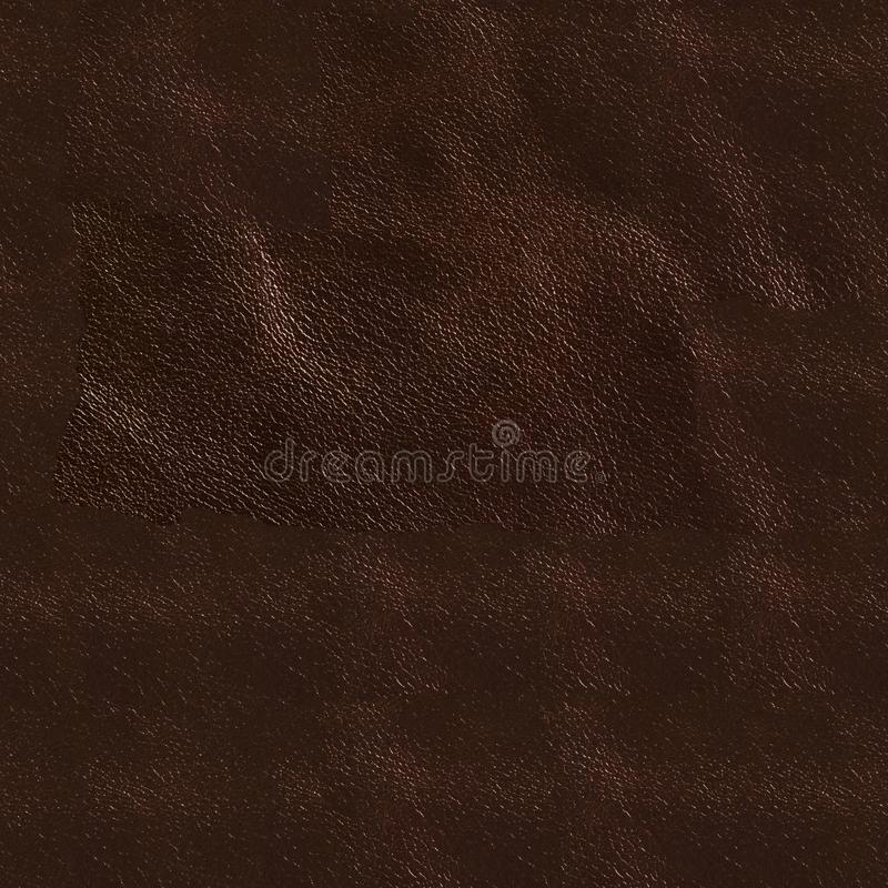 Dark brown leather background. Seamless square texture, tile ready. High resolution photo stock photo