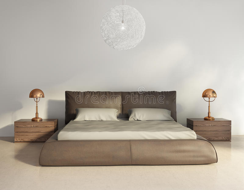 Dark brown leather bed in contemporary chic interior. Front view royalty free stock images