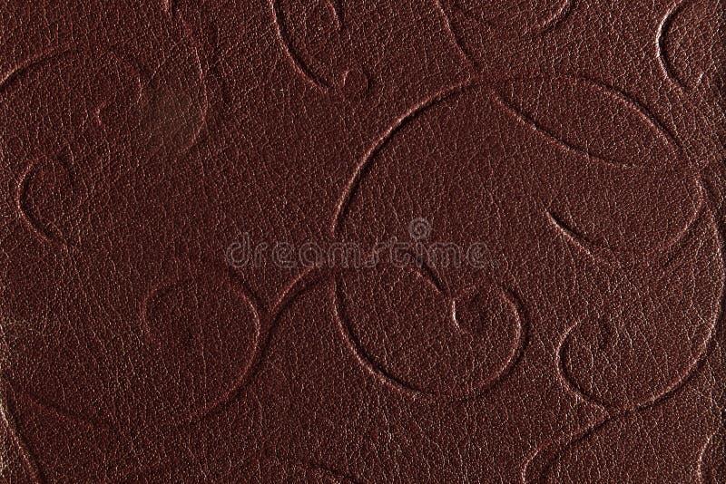 Dark brown leather texture. Close up of dark brown leather texture stock images