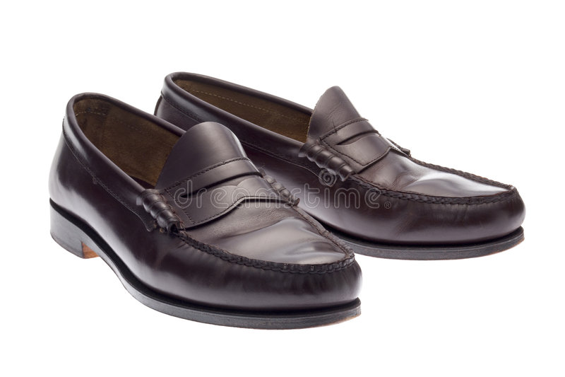 Dark brown loafers royalty free stock images