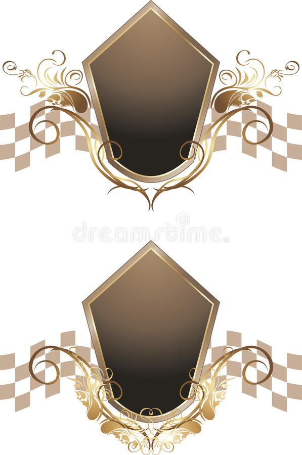Download Dark Brown Shield With Golden Vintage Elements Stock Vector - Image: 25223377
