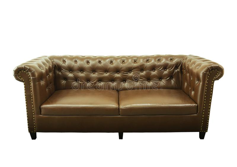 Dark brown vintage beautiful luxurious sofa interior isolated on. White background.Fashion object concept stock photography