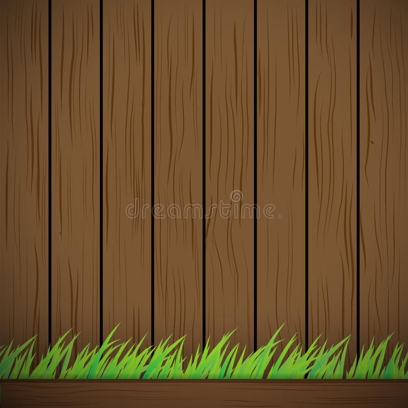Dark brown Wood Vector Background Texture and green grass vector illustration