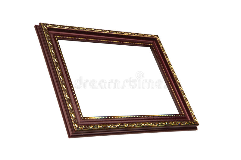 Dark brown wooden picture frame with golden pattern, isolated on. White background. View from side. Isolated on white stock photo