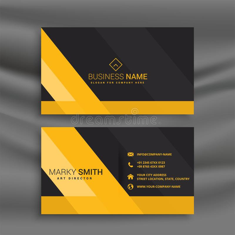 Dark business card with yellow shapes vector illustration