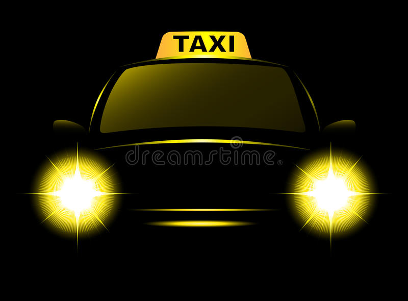 Dark cab silhouette with taxi sign. And bright beams royalty free illustration