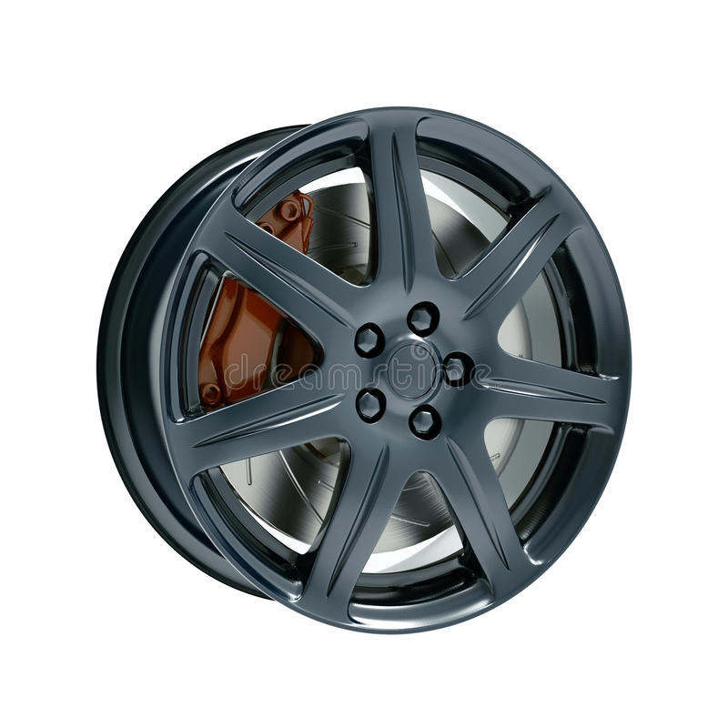 Dark car rim with brake isolated 3d model