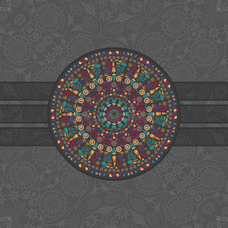 Dark Card With Round Symmetry Element Stock Images