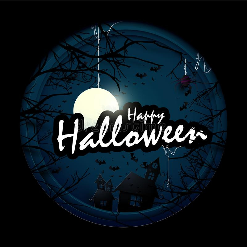 Free Dark Castle, White Ghosts And Old Trees With Halloween Text In Circle Shape. Royalty Free Stock Photography - 100041747