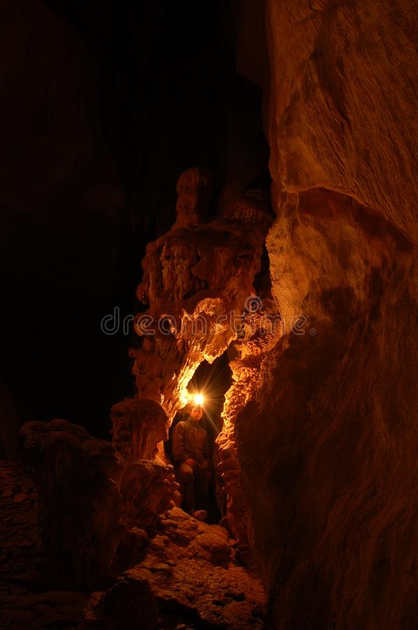 Dark cave stock photo