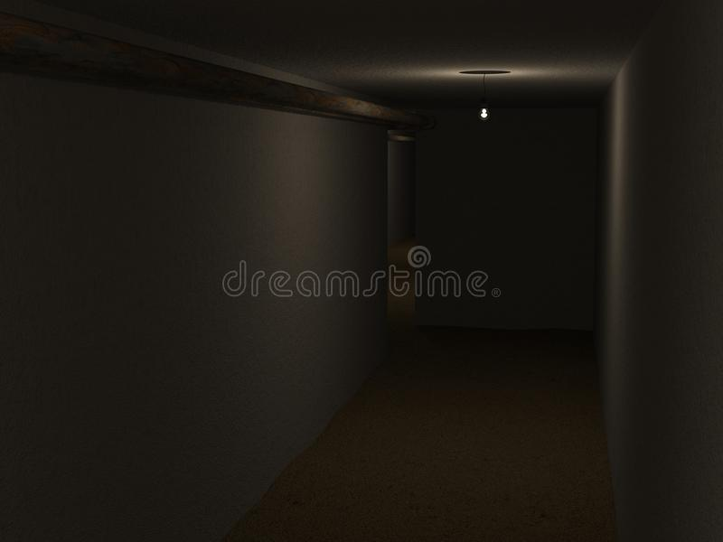Dark cellar. With rusty pipes vector illustration