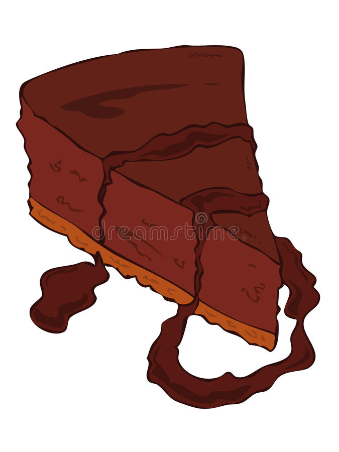Dark Cheesecake slice. Dark Cheesecake slice with melted dark chocolate vector illustration