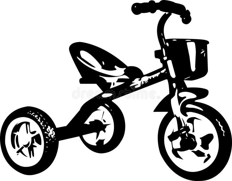 Dark children`s tricycle stock photography
