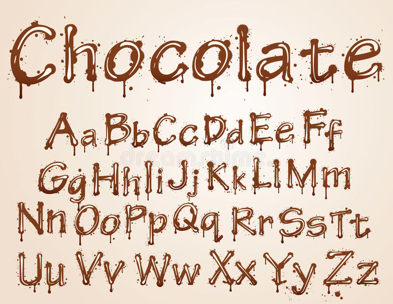 Download Dark Chocolate Alphabet On A White Background. Stock Vector - Image: 22961546
