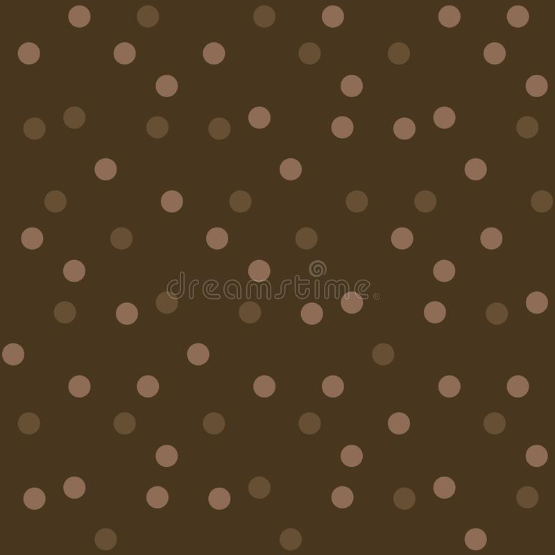 Dark chocolate background polka dots seamless pattern vector illustration