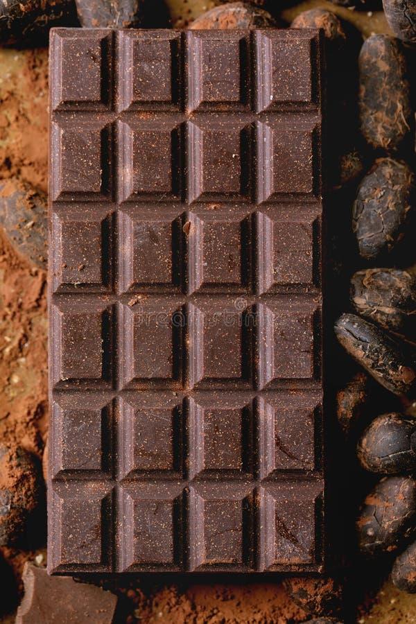 Dark chocolate with cocoa royalty free stock photos