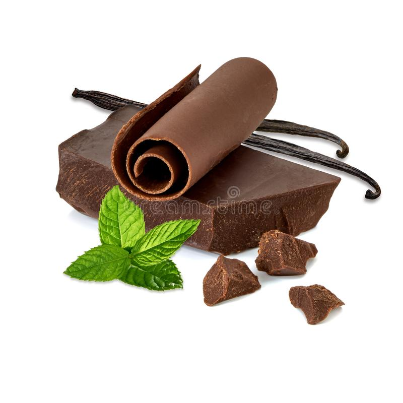 Dark chocolate bar, curl and pieces with vanilla pods stock photo