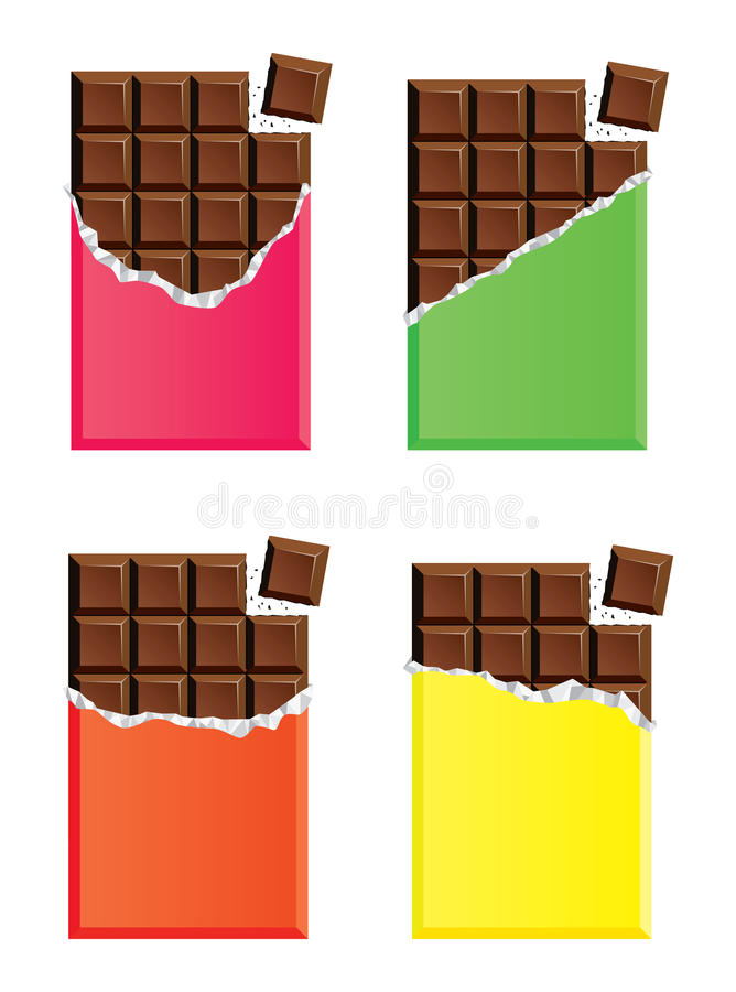 Dark chocolate bars with a piece of chocolate bar, vector. Collection of opened dark chocolate bars with a piece of chocolate bar, pink, green, orange and yellow stock illustration