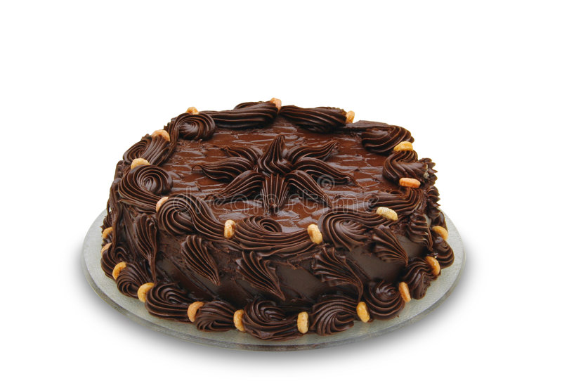 Dark chocolate cake. Well decorated stock images