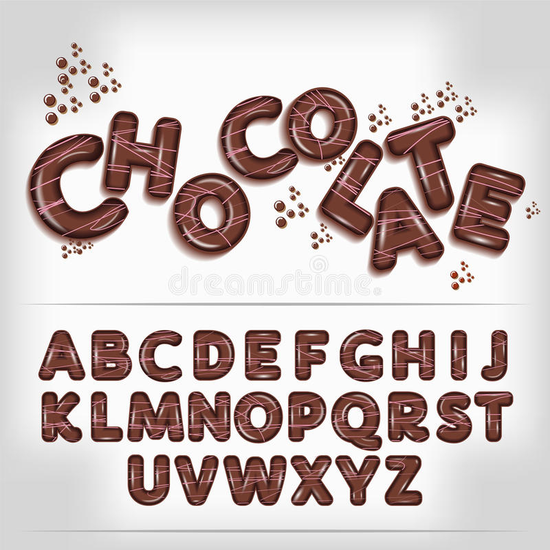 Dark chocolate candy alphabet stock illustration