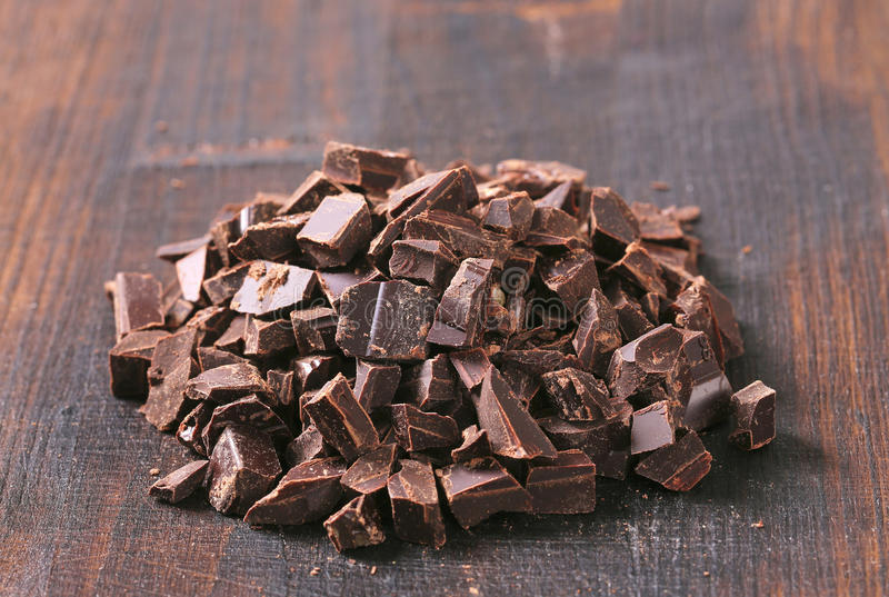 Dark chocolate chunks stock image