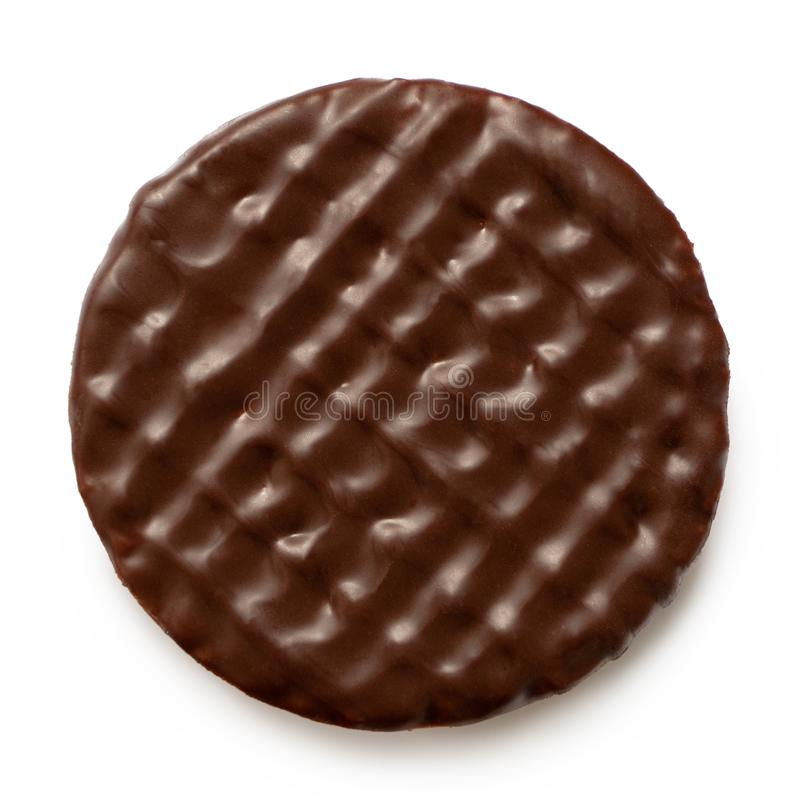Free Dark Chocolate Coated Digestive Biscuit Isolated On White. Top View Royalty Free Stock Images - 165012579
