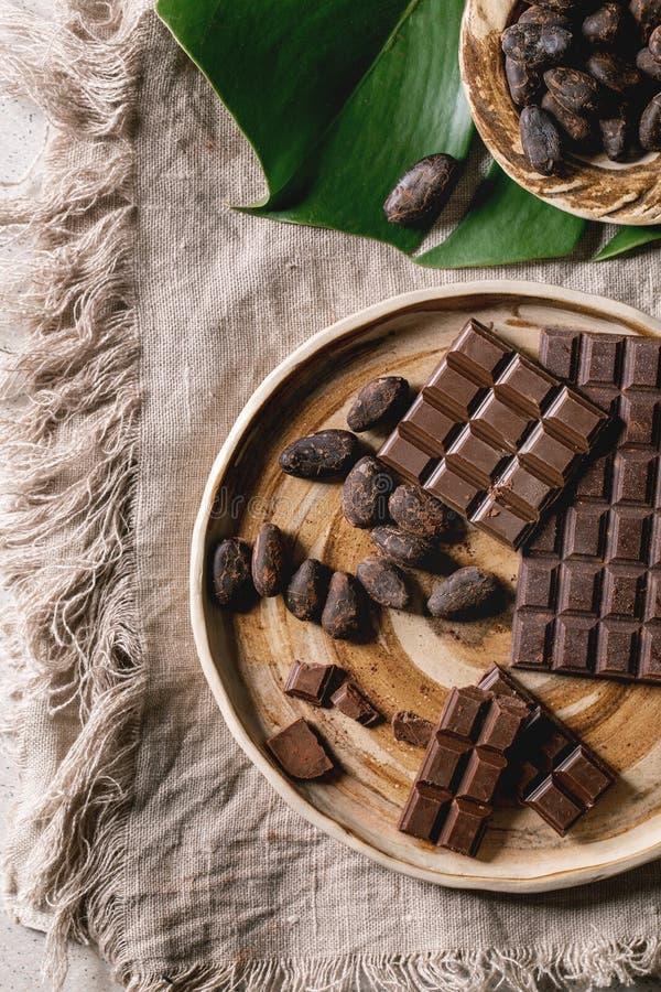 Dark chocolate with cocoa stock photos