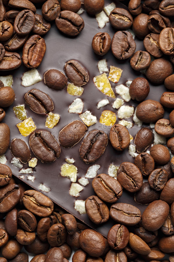 Dark chocolate with coffee grains and fruits. Prepared for the World Chocolate Day. Photographed macro stock photography