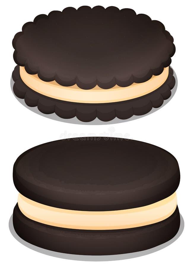 Dark chocolate cookie and cream stock illustration