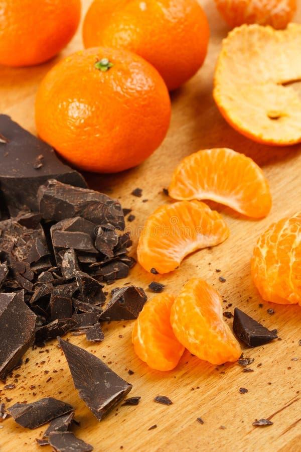 Dark Chocolate and Oranges stock photography