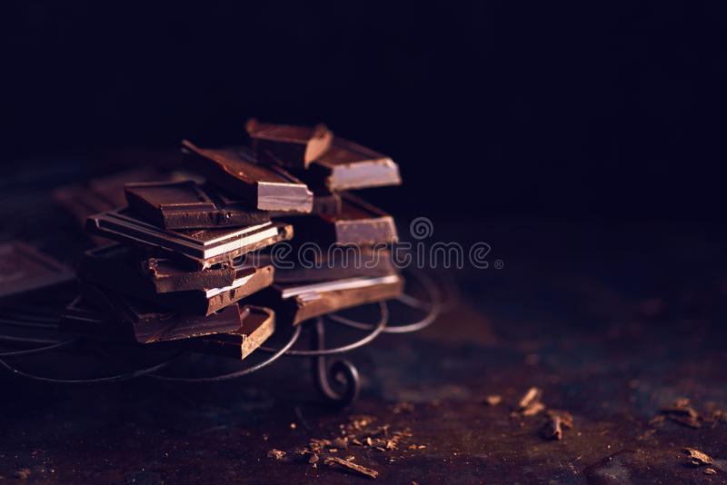 Dark chocolate pieces stock photo