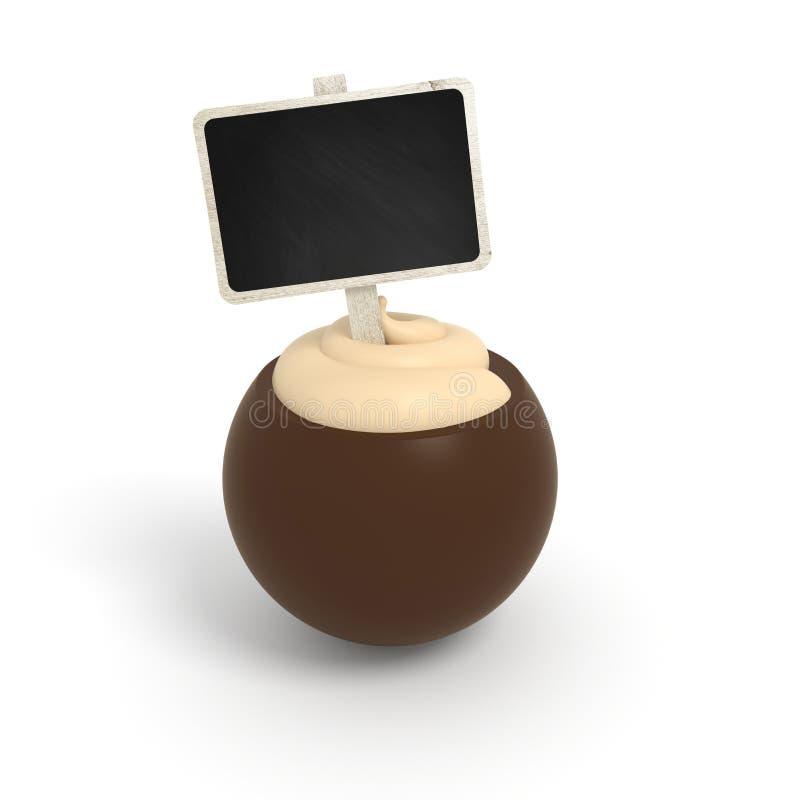 Dark chocolate praline with vanilla cream filling and signboard stock photos