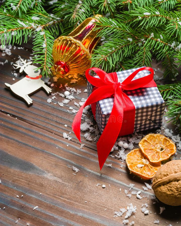 Dark Christmas background. Gifts and congratulations on the New Year. Family meeting. Copy space royalty free stock image